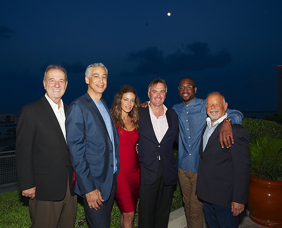 From left, Michael Ambrosio, president of ISG World; Miguel Poyastro, Vizcayne's director of sales, Fadia Bassi; ISG principal Craig Studnicky, Dwyane Wade and Philip Spiegelman, another ISG principal, at Vizcayne.