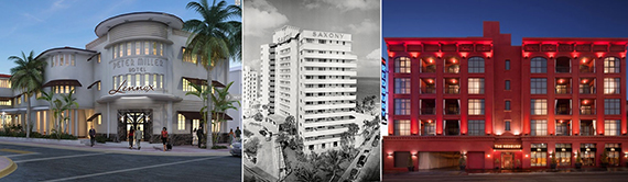 From left, renderings of the Lenox Hotel; archive of Saxony Hotel; The Redbury in Hollywood