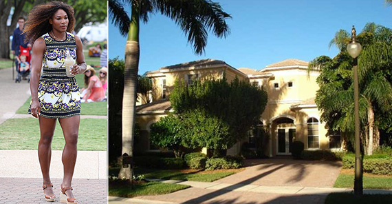 From left, Serena Williams and recently sold Palm Beach house