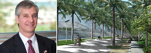 From left: Miami Commissioner Marc Sarnoff and a Museum Park rendering