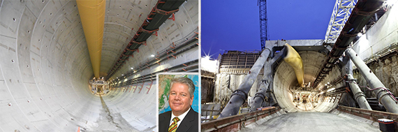 Port of Miami tunnel (inset: Port Director Bill Johnson)