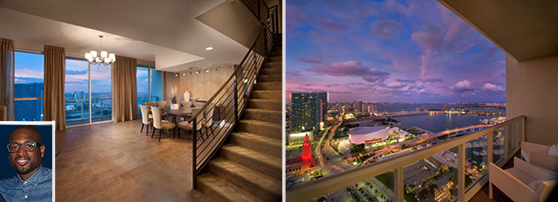 Dwyane Wade's Vizcayne penthouse and view (inset: Wade)