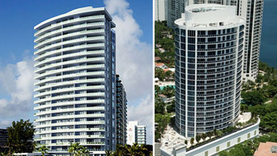The Apogee Beach condos in Hollywood Beach and the Bellini Williams Island in Aventura