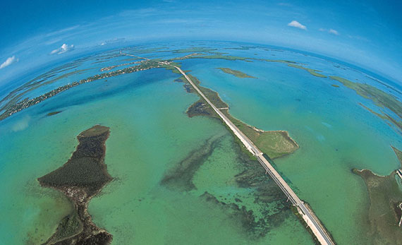 An aerial shot of Monroe County in Florida