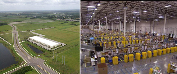 From left: rendering of warehouse and insider an existing Amazon facility