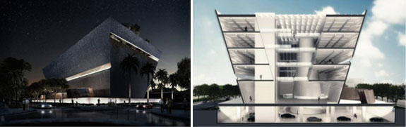 The exterior and interior of the proposed building