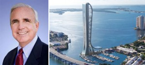 Mayor Carlos Gimenez and rendering of SkyRise Miami
