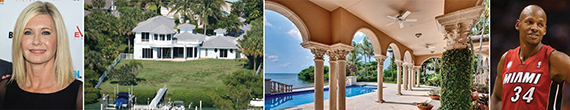 From left: Olivia Newton-John, her Palm Beach County home, a shot of Ray Allen's spread and Allen himself