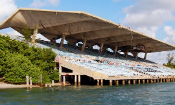 A view of Miami Marine Stadium, closed and covered with graffiti.