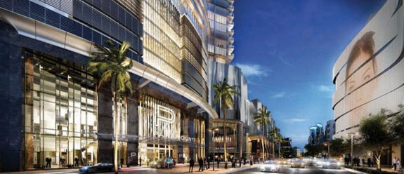 Rendering of the street entrance of the planned condo tower