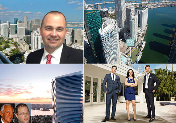 "Clockwise from left: Peter Zalewski, 300 Biscayne Boulevard Way, ""Million Dollar Miami"" stars and a rendering of Residences by Armani/Casa (inset: Giorgio Armani and Gil Dezer)"