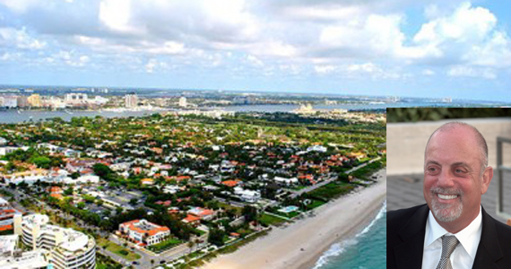 Aerial shot of Palm Beach. Inset: Billy Joel