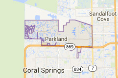 Google Maps view of Parkland city limits