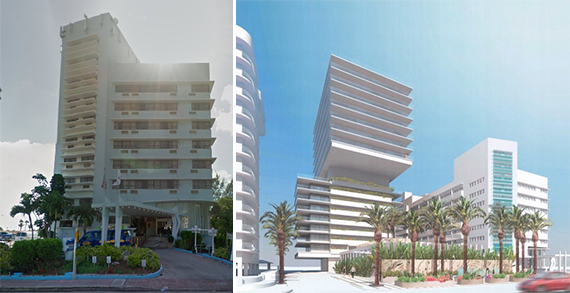 Former Howard Johnson hotel at 8701 Collins Avenue and a rendering of the future development