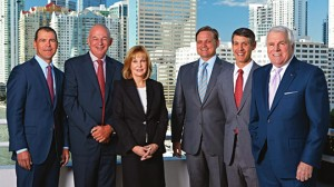 Cresa Miami office principals John Marshall, Charlie Barton, Barbara Liberatore Black, Alan Kleber, Matthew Goodman and David Preve