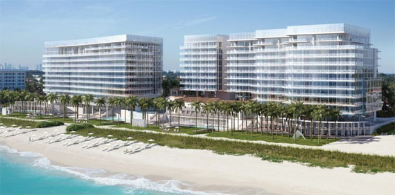 Meier's rendering for Miami Beach's Surf Club, which will feature a hotel flanked by residential towers.