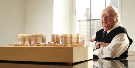 Richard Meier with a model of his Surf Club project.