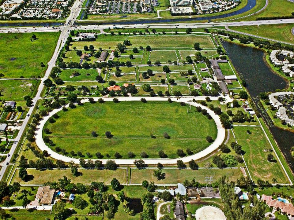 Aerial view of the 48-acre Circle S Farm in Southwest Ranches
