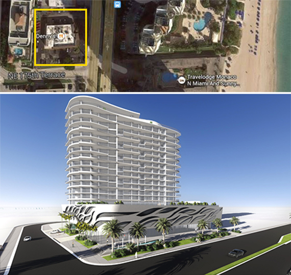 Denny's site in Sunny Isles and a rendering of the planned development