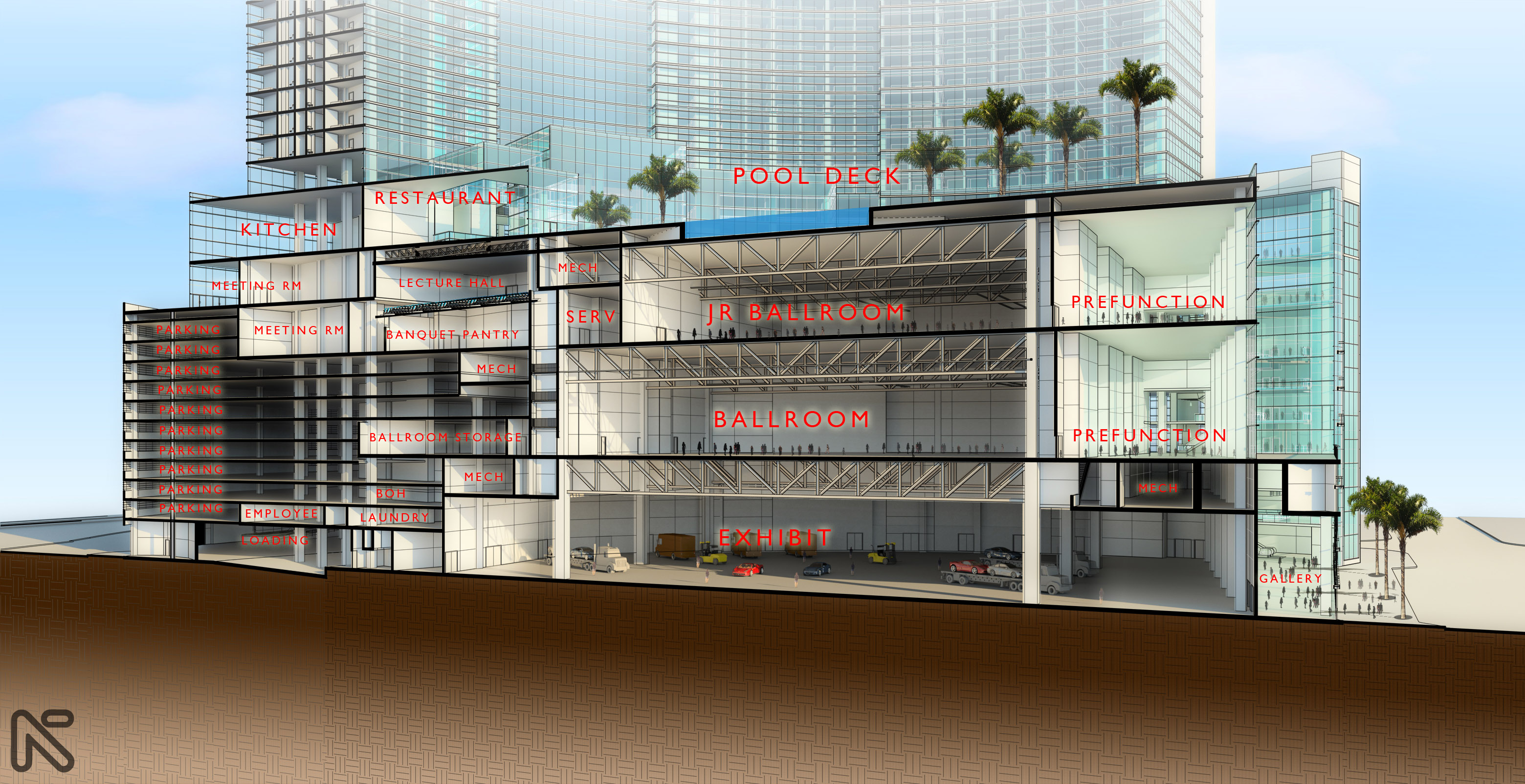 Cross section of the meeting space