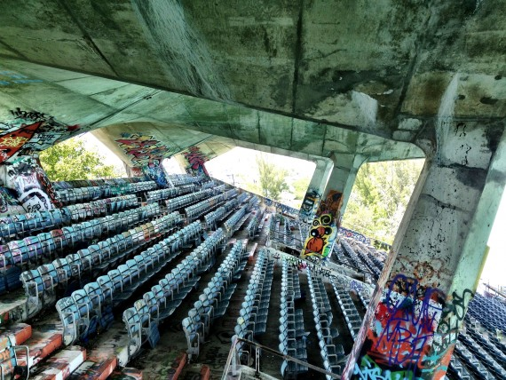 Inside the long-abandoned Miami Marine Stadium