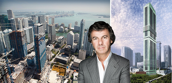 A map of 830 Brickell, Ugo Colombo and a rendering of the site