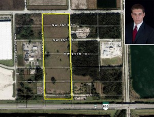 The 28-acre lot and broker Frank Lago