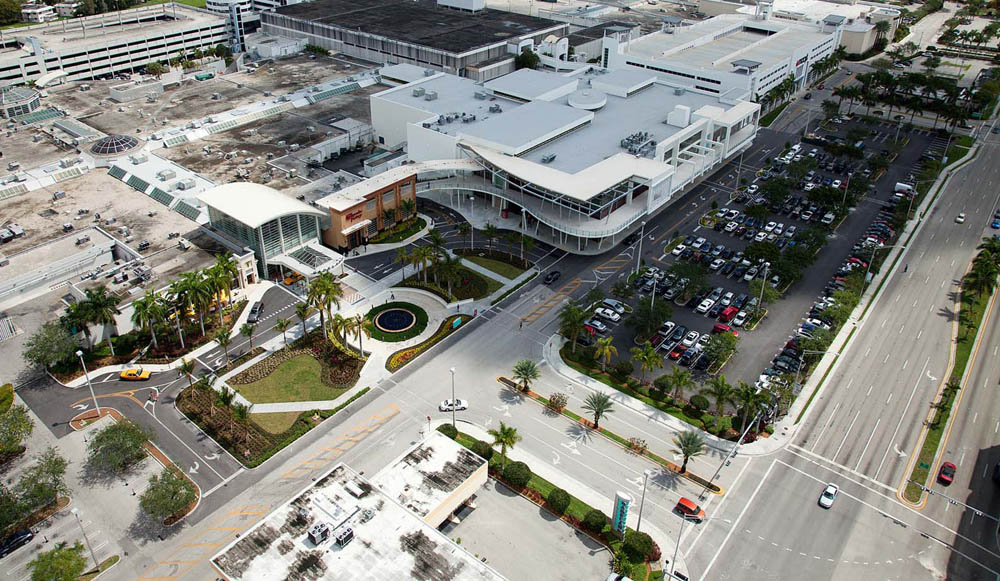 Aerial shot of Dadeland Mall