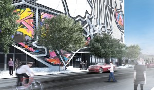 A ground-floor shot of the proposed Wynwood parking garage