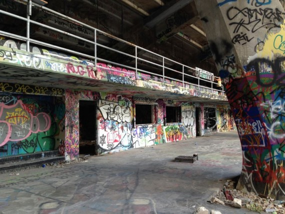 A shot from behind the Miami Marine Stadium, which has been neglected for years