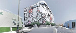 A rendering of Goldman Properties' proposed parking garage in Wynwood