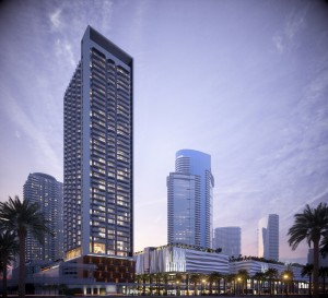 A rendering of ZOM's newly announced 429-unit luxury rental tower
