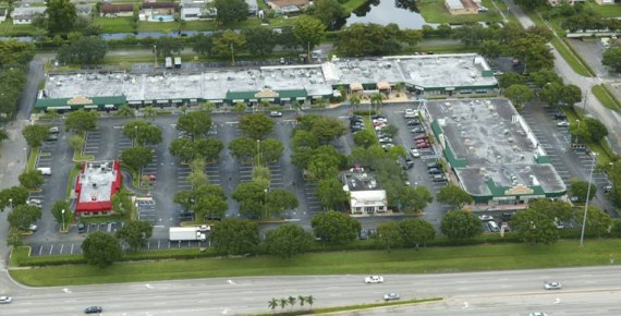 An overhead view of the Palm Square shopping center in Pembroke Pines