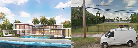 A rendering for a home that could occupy 2374 North Bay Road, and the lot when it was vacant