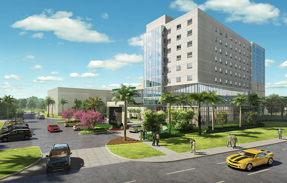 Rendering of the planned AC Hotel in Aventura (Credit: Zyscovich Architects)