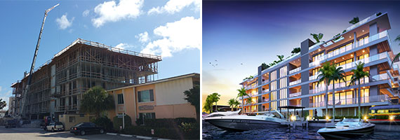 A shot of AquaLuna as it stands today (left) and a rendering of what the project will look like when completed (right)