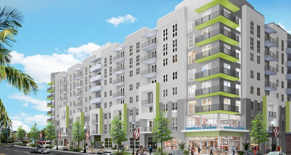 A rendering of Modera  Station, a development across the street from the Mills Creek project.