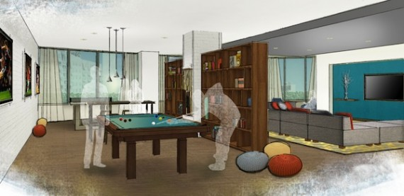 A rendering of a common area in Midtown 5
