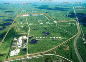 An aerial shot of the land from marketing materials from commercial brokerage CBRE