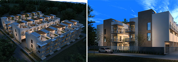Renderings of the planned Grove Place townhomes