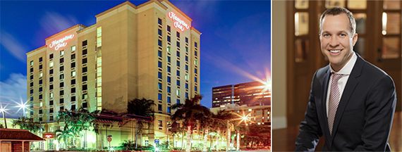 Hampton Inn Fort Lauderdale and Justin Knight, chairman and CEO of Apple Hospitality REIT