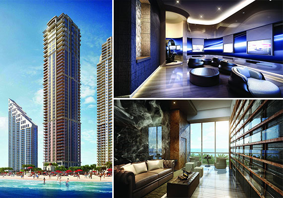 Renderings of the newly built Mansions at Acqualina condo tower in Sunny Isles Beach (Credit: Neoscape)