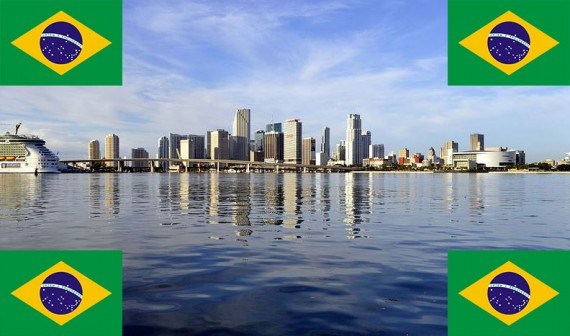 A shot of Miami's skyline and Brazil's national flag