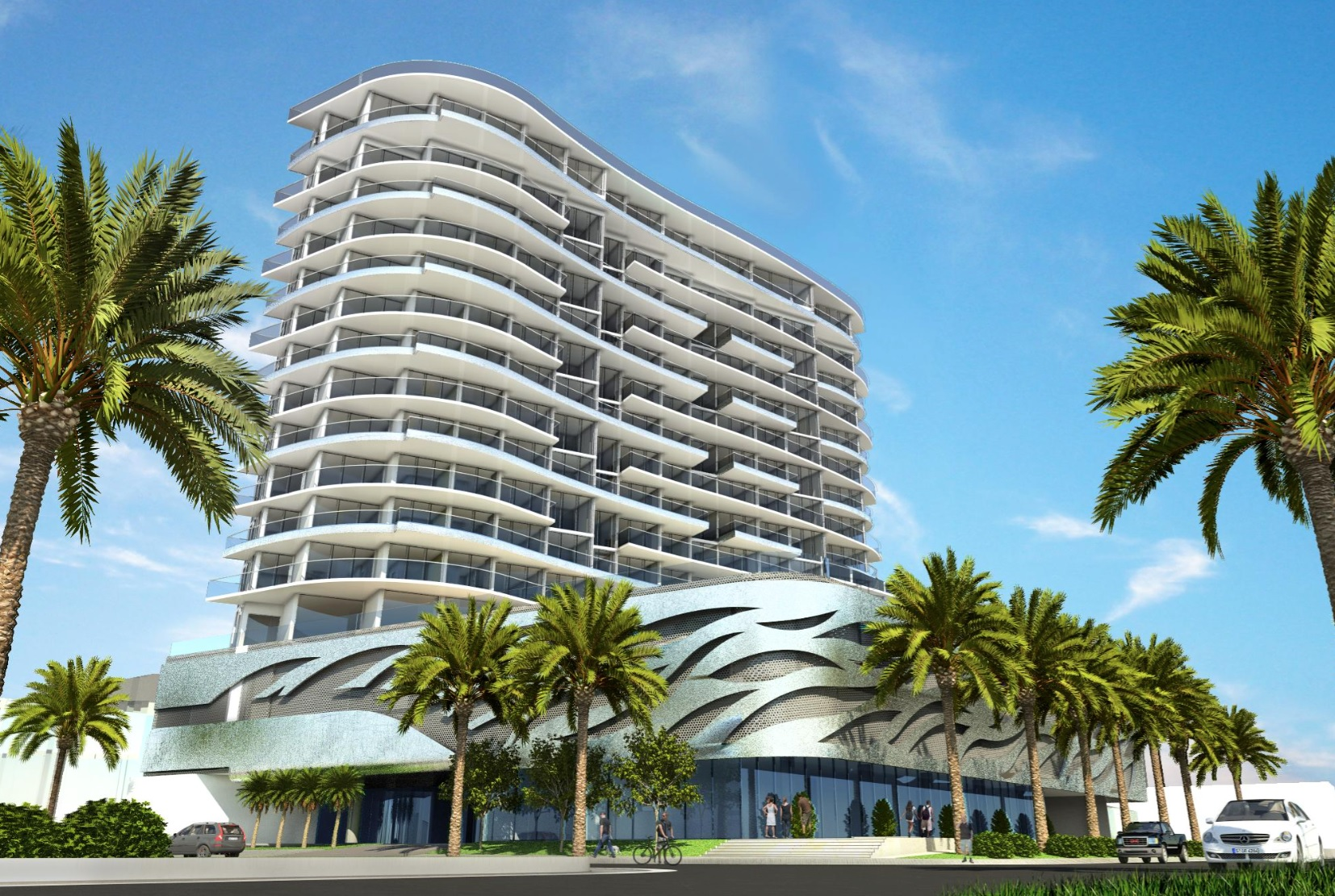 Artist rendering of redesigned Verzasca condominium proposed at 17550 Collins Avenue in Sunny Isles Beach.