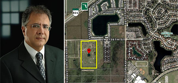 eduardo caballero vice president of jaxi builders, and the vacant land Jaxi sold in Homestead
