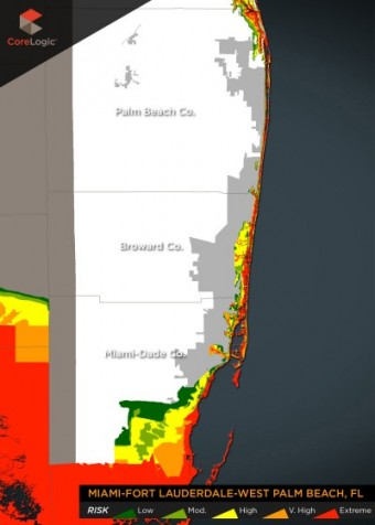 A map of homes at risk of storm surge in South Florida