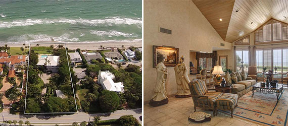 An aerial view of 6125 North Ocean Boulevard and an interior shot from the home's listing