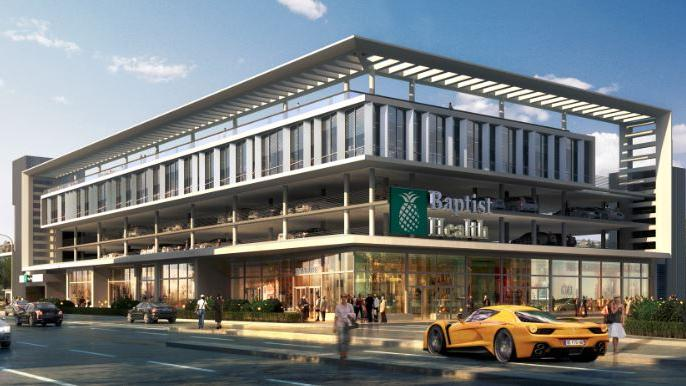 Rendering of proposed Baptist Health facility at Alton Road and Seventh Street in Miami Beach