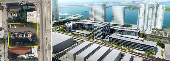 824 Alton Road and a rendering of Russell Galbut's Wave project, which will be about one city block south.