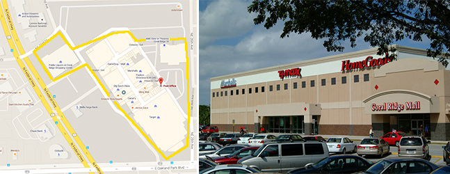 Map of Coral Ridge Mall and the exterior